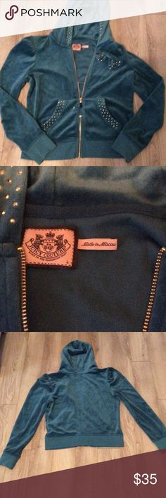 Velour Juicy RARE Jacket with Rhinestones Teal green one of a kind. Excellent condition. Juicy Couture Jackets & Coats