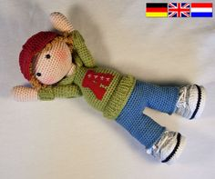 Ganchillo patrones para muñeca JOSH Deutsch Inglés por CAROcreated