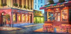 *Fleur-de-lis Promenade Professional Scenic Backdrop - Bienvenue a Paris! Enjoy a croissant as your poodle relaxes by your side. Walk the streets of our charming #French village in this beautiful street scene. Perfect for #pageants #recitals and #events. Rent today! #Paris #aroundtheworld #backdrops #handpainted #theatreworld