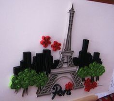 Quilled Eiffel Tower & Trees