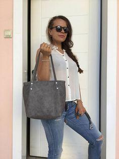 Gray leather bag/Distressed tote bag/Medium bag/Shoulder bag Grey Leather, Soft Leather, Leather Bag, Crossbody Shoulder Bag, Crossbody Bag, Tote Bag, Medium Bags, Italian Leather, Bag Making
