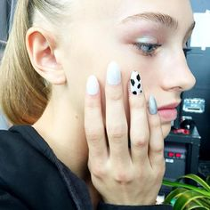 Up close and personal with today's mani for the @areanyc show at The Standard, High Line. Get this Dalmatian Accent Nail inspired by the spotted fabric in #areanyc collection, @luxebytracylee created a Dalmatian print by using Lost My Slipper as the base and then used a manicure brush dipped in Black Stretch Limo for the asymmetrical spots. #NYFW. #RCMNailIt #nyfw17 #SS17