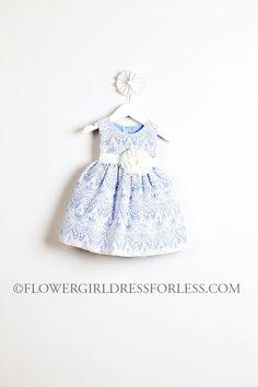 60.00 SK_437LB_14 - Girls Dress Style 437- Sleeveless Lace Dress - Light Blue - Flower Girl Dress For Less