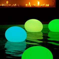 LED cordless lighting flat ball- fun for a pool party! Ash - for the Sorensen's pool? In light pink & white?