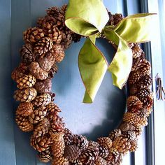 Pinecone Wreath Tutorial: Use cinnamon scented mini-pinecones available at craft stores to make this wreath. Guests will love being greeted with the smell of fall.