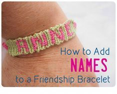Start-to-finish instructions to make a friendship bracelet out of embroidery floss with letters or numbers in the design. Start-to-finish instructions to make a friendship bracelet out of embroidery floss with letters or numbers in the design. Diy Bracelets With String, String Bracelet Patterns, String Friendship Bracelets, Diy Friendship Bracelets Patterns, Diy Bracelets Easy, Thread Bracelets, Embroidery Bracelets, Bracelet Crafts, Loom Bracelets
