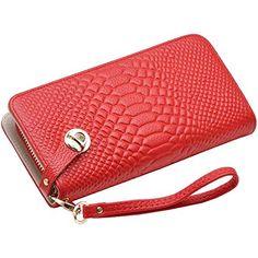 62649f221 Sweetmeet Women's Purse Soft Genuine Leather Organizer Wallet Coin Wristlet  Clutch Card Holder Crocodile