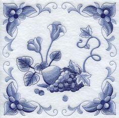 DELFT BLUE CYCLAMEN - Machine Embroidered Quilt Blocks (AzEB)