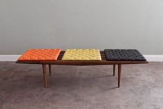 This would be perfect at the end of my bed!!  MidCentury Slat Bench with Vintage Tangerine by castandcrew, $525.00