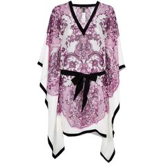 ROBERTO CAVALLI contrast paisley print kaftan ($1,145) ❤ liked on Polyvore featuring tops, tunics, dresses, shirts, kaftan, collared shirt, silk kaftan, purple tunic, 3/4 sleeve tunic and v-neck tunic
