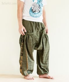 Baggy Aladdin Harem Pants Hindu Om Textured Cotton Big Pockets (Green)
