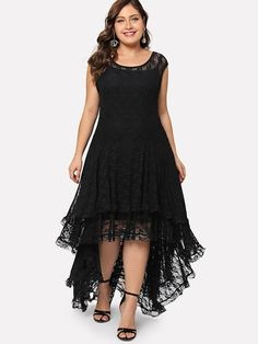 Shop Plus Dip Hem Layered Floral Lace Dress online. SheIn offers Plus Dip Hem Layered Floral Lace Dress & more to fit your fashionable needs. Floral Lace Dress, Chiffon Dress, Lace Maxi, Plus Size Dresses, Plus Size Outfits, Evening Dresses, Summer Dresses, Plus Size Fashion For Women, Dresses Online