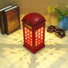 Vintage Telephone Booth Design USB Charging LED Night Lamp Touch Dimmable Table Desk Light for Home Shop Office Bar Decoration London Telephone Booth, Telephone Vintage, Tube Neon Led, Bedside Table Lamps, Desk Lamp, Table Desk, Desk Light, Lamp Light, Lights