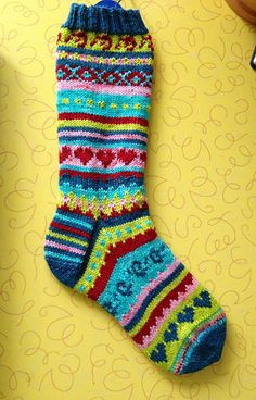 This is a monster sock pattern to use up remnants of sock yarn left over from other projects. Pattern is largely written with small sections of charted colorwork. Socks are a standard 64 stitch pattern. Crochet Socks, Knitted Slippers, Wool Socks, My Socks, Crochet Scarves, Knitting Socks, Hand Knitting, Knitted Hats, Knit Crochet