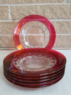 King's Crown Ruby Flashed Thumbprint Luncheon Plates - Set of 6 Plates - 8 Inch Diameter - Tiffin-Franciscan US Glass Indiana Glass by ClassyVintageGlass on Etsy Vintage Dinnerware, Kings Crown, Indiana Glass, Red Glass, Tea Sets, Plate Sets, Decorative Plates, Kitchens, Porcelain