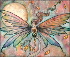 Autumn Upgust - Fairy Fantasy Fine Art Illustration Watercolor Giclee Print 5 x 7  by Molly Harrison Fantasy Art