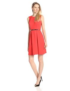Ellen Tracy Women's Sleeveless Belted Fit and Flare Dress, Poppy, 16   #FreedomOfArt  Join us, SUBMIT your Arts and start your Arts Store   https://playthemove.com/SignUp