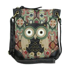 Multicolor Hippie Patchwork Owl Crossbody Bag Purse