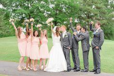Cypress Point Country Club Wedding, Virginia Beach, VA - light pink/peach bridesmaid dresses, grey groomsmen tuxes