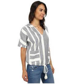 Roxy Ironwood Short Sleeve Hoodie Patriot Blue Shoreline Stripe - 6pm.com