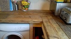 """#recycled scaffold board worktops fitted, oiled and now in use"""