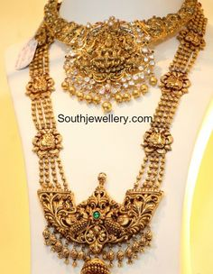 Peacock Nakshi Choker and Long Haram - Indian Jewellery Designs Gold Mangalsutra Designs, Gold Earrings Designs, Necklace Designs, Silver Earrings, Gold Necklace, Necklace Set, Indian Jewellery Design, Latest Jewellery, Jewelry Design