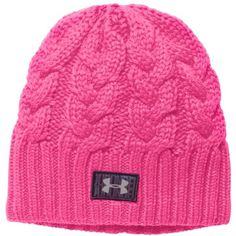 Under Armour Women's UA Around Town Beanie ($21) ❤ liked on Polyvore featuring accessories, hats, rebel pink, beanie cap, under armour hat, lined beanie, pink hat and cable knit hat