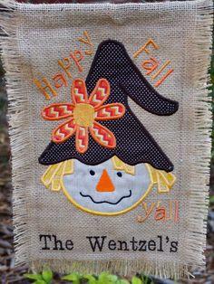Items similar to Fall Girl Scarecrow Burlap Garden Flag - Applique Garden Flag - Personalized Burlap Flag on Etsy Applique Monogram, Embroidery Applique, Applique Patterns, Machine Embroidery, Embroidery Designs, Applique Ideas, Burlap Garden Flags, Burlap Flag, Burlap Signs