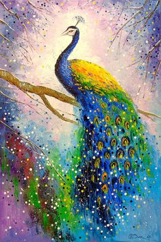 A Magnificent Peacock Birds Art Peacock Art Animals Nature Impressionism Oil Canvas On The Wall Decor For Interior Bright Art - Painting Peacock Canvas, Peacock Wall Art, Peacock Painting, Peacock Bird, Peacock Bathroom, Purple Peacock, Peacock Print, Peacock Theme, Peacock Feathers