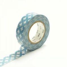 Japanese Washi Masking Tape Cross Blue.  Get it here: http://washikawaii.com/shop/d091-japanese-washi-masking-tape-cross-blue/