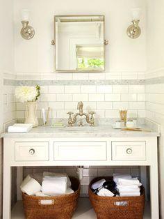 small bathroom idea. love the faucet & tile. Tones of white