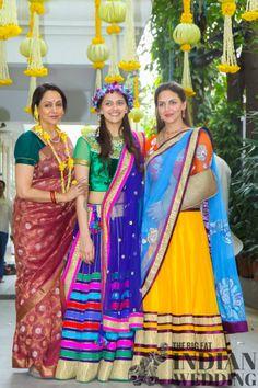 Bollywood starts Hema Malini, Ahana Deol, & Esha Deol at Ahana's mehndi ceremony.