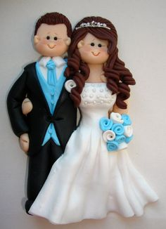 Customised flat wedding cake topper  guestbook by ALittleRelic