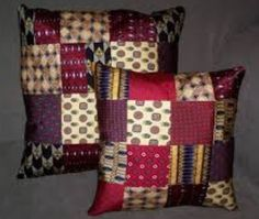 Recycling Ties into a Pillow Mens Ties Crafts, Tie Crafts, Sewing Crafts, Old Neck Ties, Old Ties, Quilting Projects, Sewing Projects, Tie Pillows, Glam Pillows