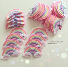 Felt Rainbow Template and Cloud Eye Template - How To Felt Crafts Patterns, Felt Crafts Diy, Felt Diy, Crafts For Kids, Unicorn Birthday, Unicorn Party, Baby Mobile, Felt Bows, Diy Hair Bows