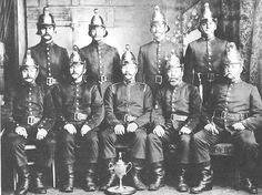 Brighton Police Sports team in 1902. The 'B' Division were winners of the Fire Brigade Challenge Cup. During this period, all the emergency services were the responsibility of the Police and a proportion of the Force were trained and employed as firemen. It was not until 1922 that a separate Fire Brigade was formed.