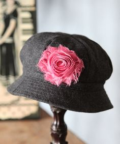 Love this Charcoal & Pink Wool-Blend Cloche by Fancy That Hat on #zulily! #zulilyfinds