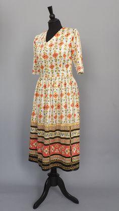 Vintage 1960s 70s Floral Folk Art Geometric Dress Boho Summer Sundress Hippie Peasant Festival Bavarian Size Medium Etnic India Maxi Dress