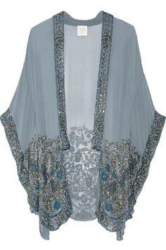 791b3f3515 Anna Sui - Embellished silk-chiffon kimono jacket