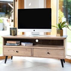 Solid Wooden TV Unit with Drawers for extra storage. This wide media unit is ideal for large TV's. Large Wooden TV Unit comes with Free UK Delivery! Large Tv Stands, Wooden Tv Stands, Reclaimed Wood Tv Stand, Reclaimed Wood Furniture, Living Room Storage, Table Storage, Industrial Tv Stand, Tv Furniture, Aging Wood