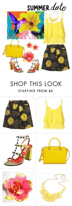 """Untitled #45"" by andrea-jones-4 ❤ liked on Polyvore featuring Ganni, Glamorous, Valentino, MICHAEL Michael Kors, Dsquared2, statefair and summerdate"