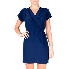 Amanda Uprichard Dorset Dress in Navy - Navy silk short sleeve faux wrap dress with cinched waist and pleated v-neckline.  http://www.shopcrushboutique.com/apparel/dresses/amanda-uprichard-dorset-dress-in-navy.html