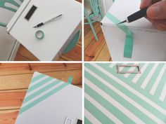 Ikea box decorated with washi tape - tutorial
