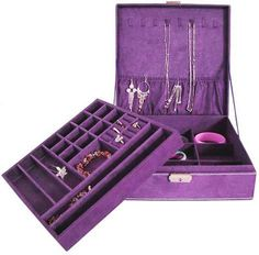 "http://cheune.com/store Aspire Lint Jewelry Box / Jewelry Organizer, Two-layer, 10"" x 10"" x 3"" - Purple, Gift Idea"