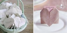 Origami Heart Wedding Place Cards 15 New Ideas Origami Wedding, Diy Origami, Origami Tutorial, Origami Paper, Diy Wedding, Wedding Ideas, Origami Ideas, Origami Boxes, Dollar Origami
