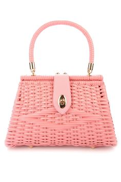 Pinup Couture Handbags Pink Wicker purse with Rose Gold hardware and removable Fruit Charm. |Vintage Inspired Wicker Purse by Pinup Couture Handbags. Handwoven from durable vinyl-coated rattan, our sturdy bags feature a beautiful faille fabric lining with open pocket, matching faux-leather closure tab and rose-gold metal details. This 'Trapeze' shape is the larger of our two designs; big enough for your make-up kit, wallet and more! Made in the countryside of China by a family owned and…