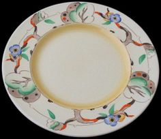 Unusual Clarice Cliff Plate - Tiger Tree Pattern - 1930's Art Deco