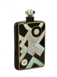 c1925 Depinoix, Langlois perfume bottle and stopper, black crystal, raised green enameled detail imitating eggshell lacquer. 4 1/4 in.