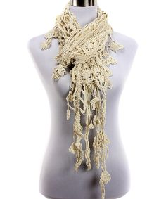 Look at this Beige Crochet Flower Fringe Scarf on #zulily today!