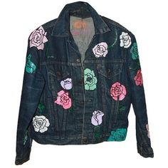 Nasty Gal X Peggy Noland Hand Painted Denim Xl Blue Womens Jean Jacket ($186) ❤ liked on Polyvore featuring outerwear, jackets, nasty gal, denim jacket, jean jacket, blue jean jacket and blue jackets